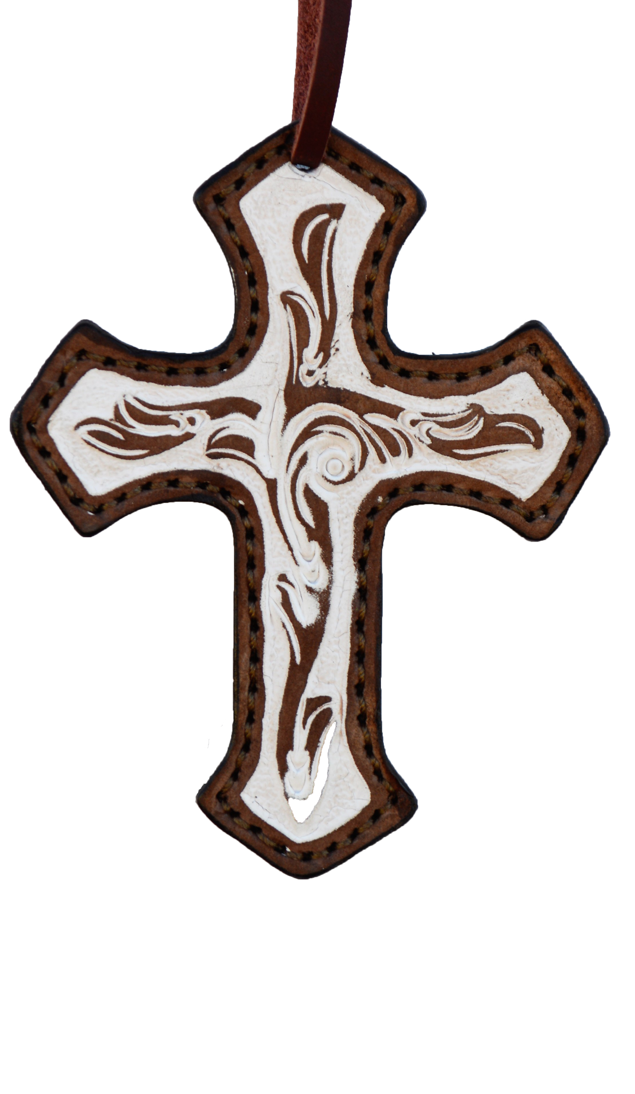 108-IRO Cross in floral Tooling w/ Ivory Paint in a Rustic Background