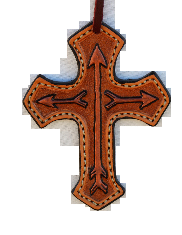 108-RA Cross toast leather arrow tooled