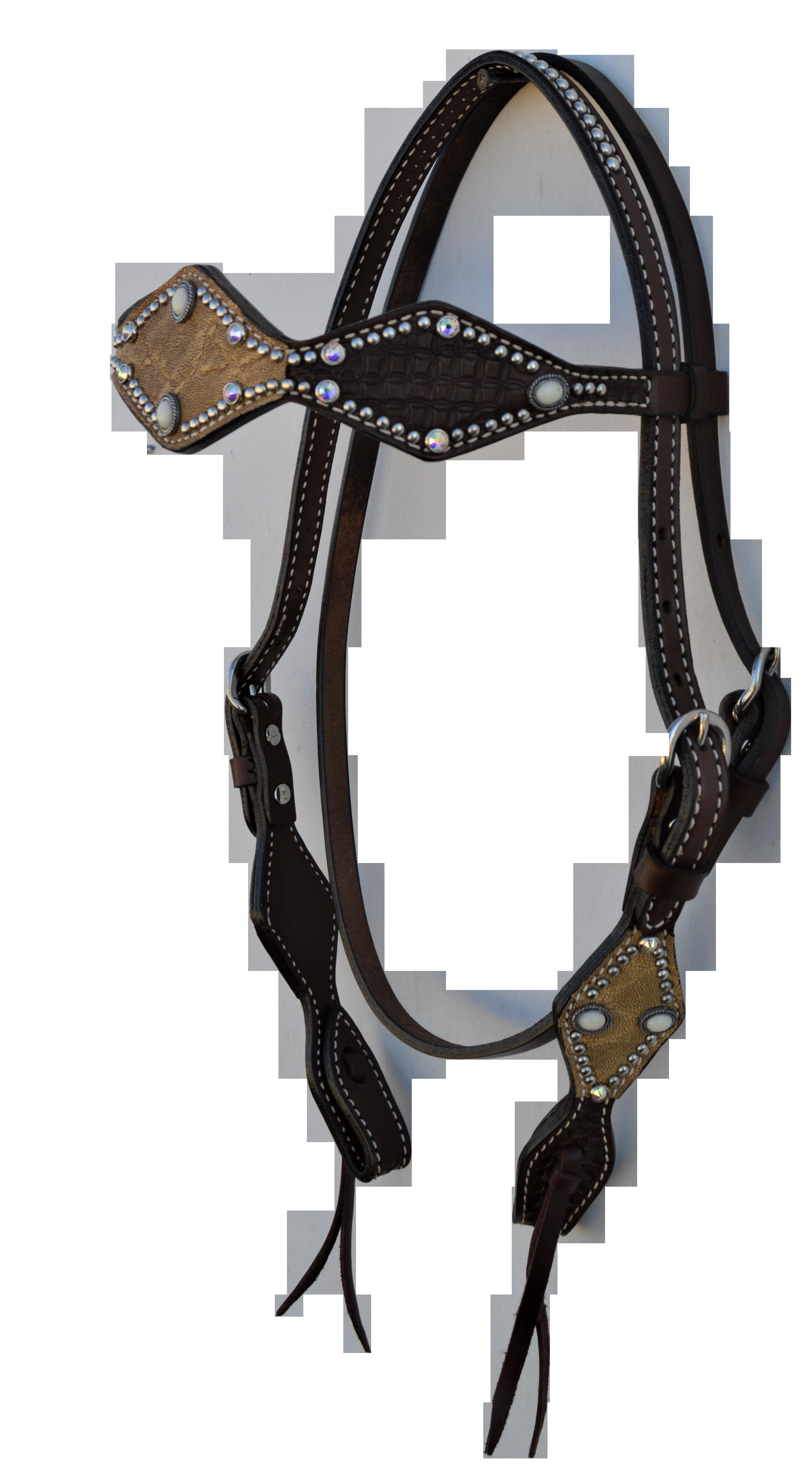 2046-TE 2-1/2 diamond headstall chocolate leather geo tooled taupe elephant overlay
