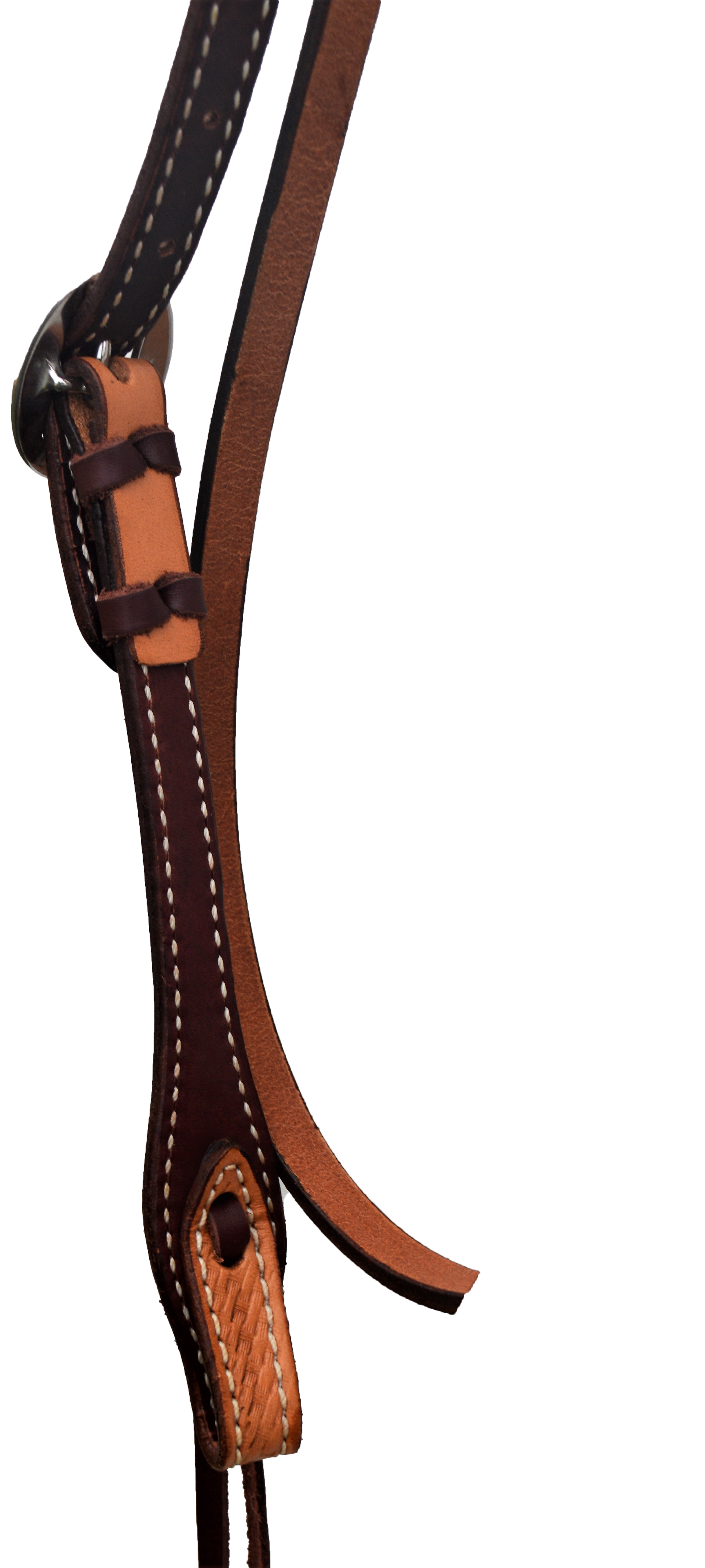 """E-2015-K Elite 1\"""" straight browband golden leather basket tooled"""