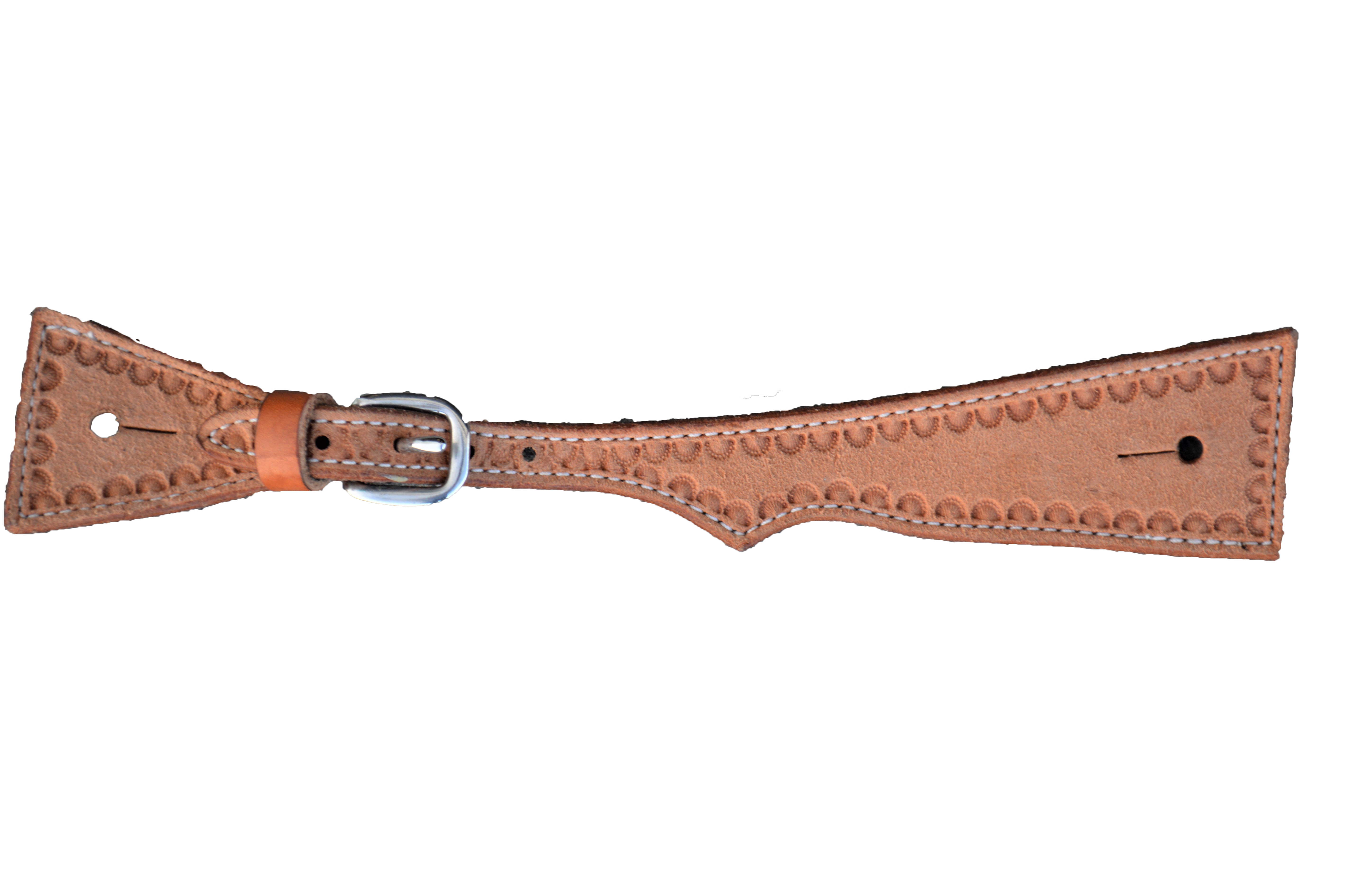 E-389-ROS Elite men\'s spur strap square golden leather border shell tooling