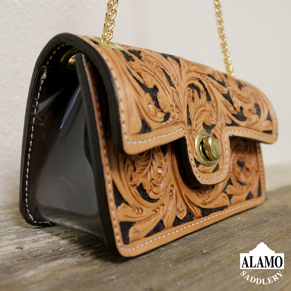 Golden Handbag w/ Ant Leaf Tooling