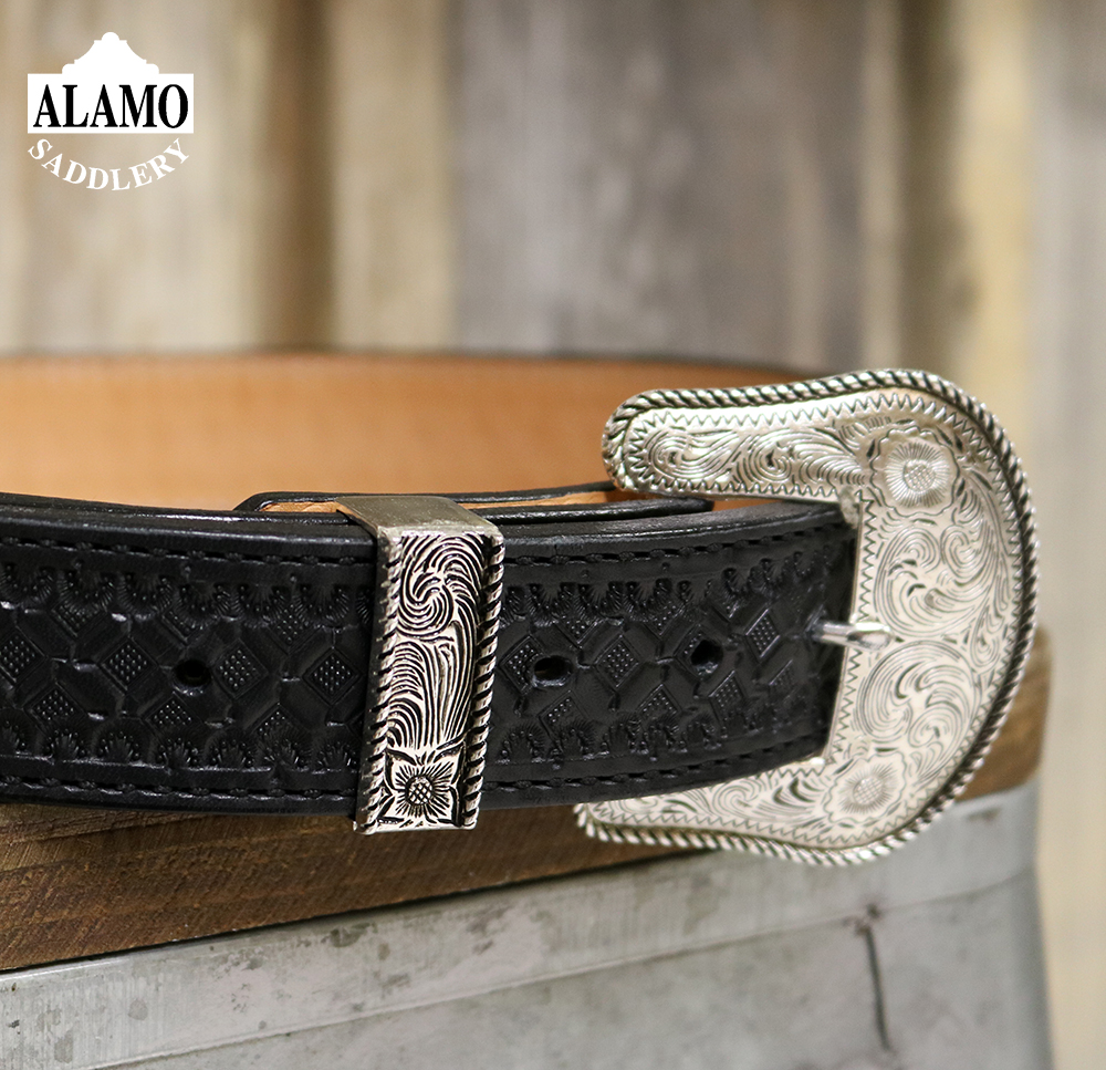 Black leather Belt w/ Camel and Waffle Tooling