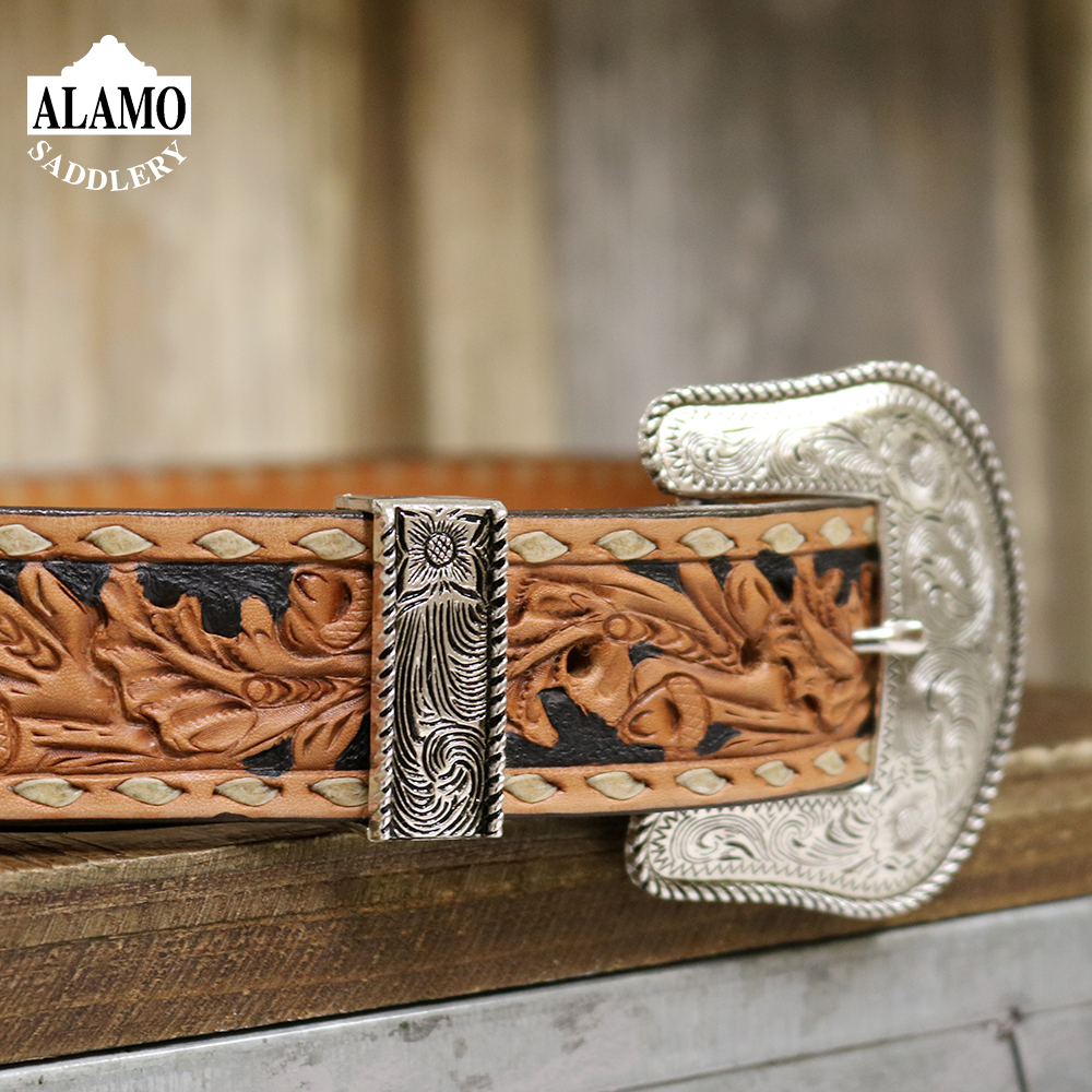 Golden Leather Belt w/ Buck Stitch and Acorn Tooling 1 1/2IN\