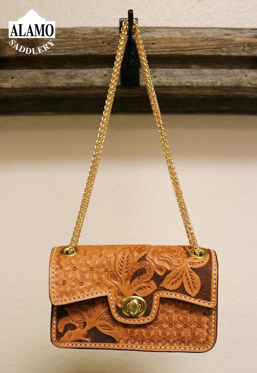 Golden Handbag w/ Rose and Snowflake Tooling