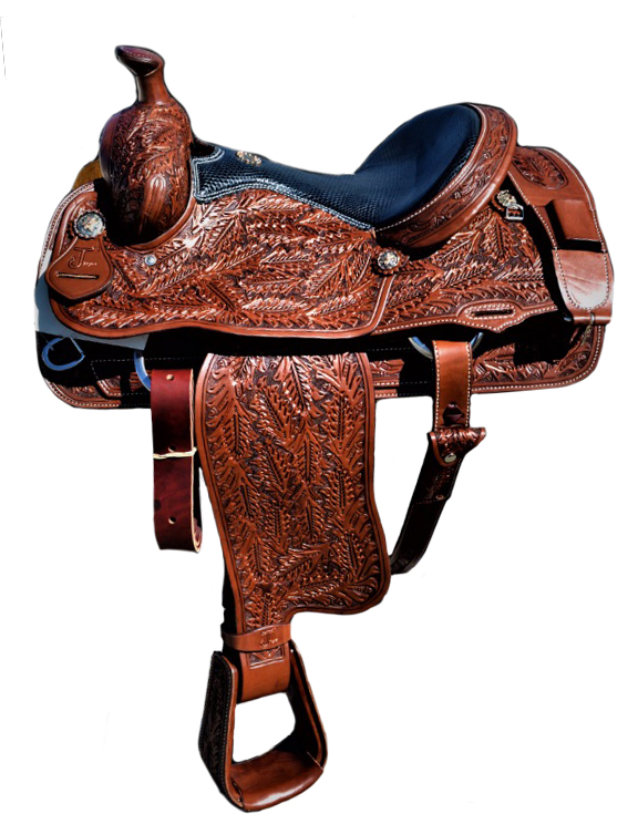 <p><b>PRE-ORDER ONLY</b></p>MJ001 Mike Johnson fully tooled roper saddle