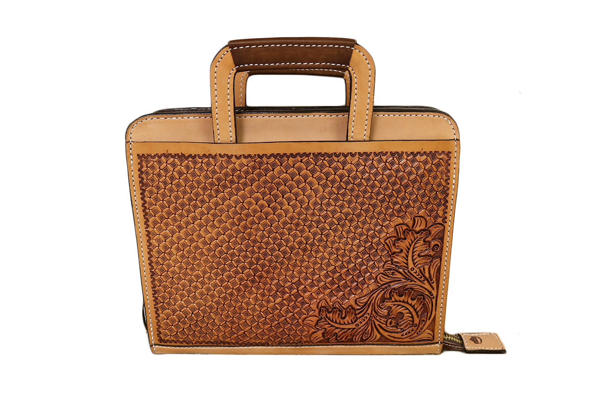 Golden Leather Briefcase w/ Combo Tooling