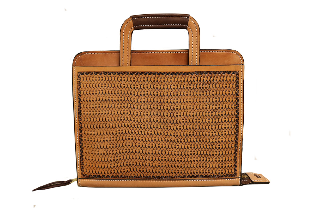 Golden leather briefcase w/ geo tooling
