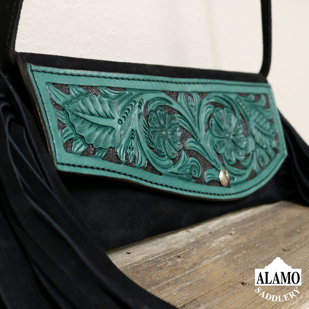 Black fringe handbag w/ turq floral tooling <P><B> LAST ONE!</B>