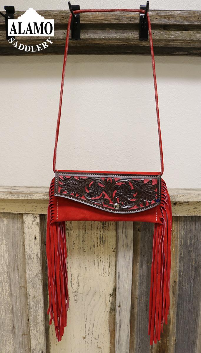 Red fringe handbag w/ red floral tooling <P><B> LAST ONE!</B>