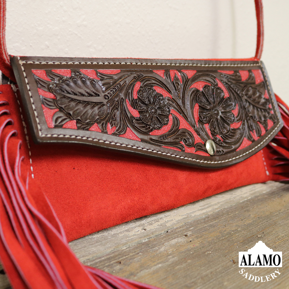 Red fringe handbag w/ red floral tooling <P><B> LAST ONE!</B>