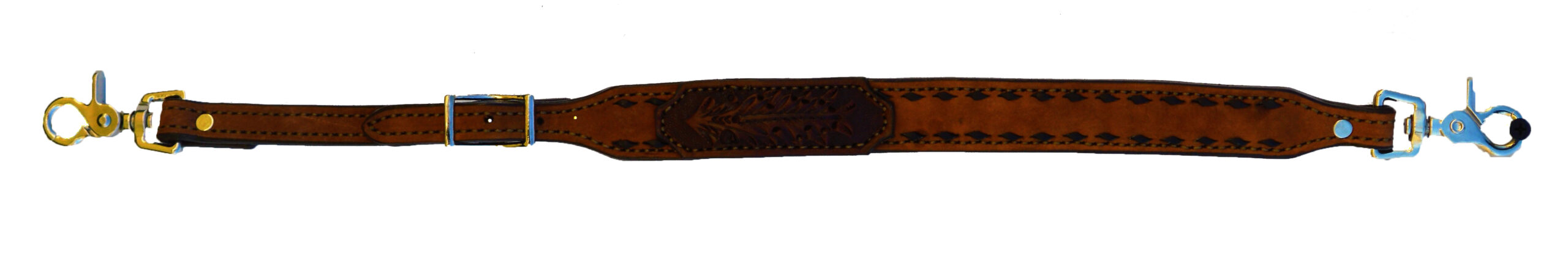200-AO WITHER STRAP ROUGH OUT TOAST LEATHER WITH CHOCOLATE TOOLED PATCH