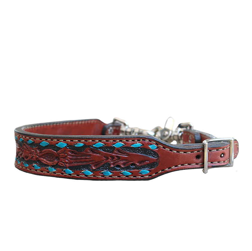 200-TTBS WITHER STRAP WITH TURQUOISE BUCKSTITCH AND TOOLING