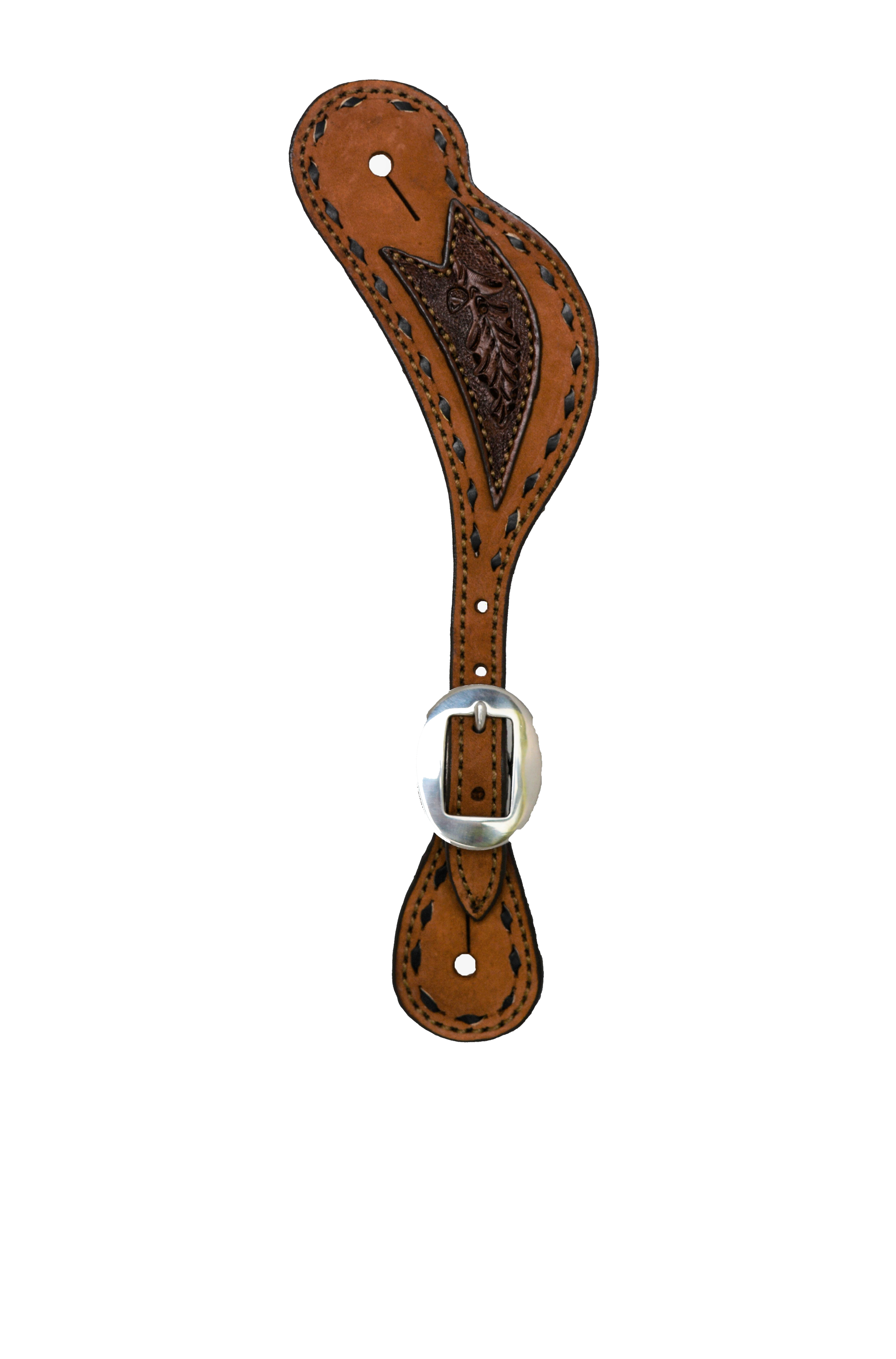 380-AO Men's spur strap rough out toast leather w/ chocolate tooled patch & buckstitch