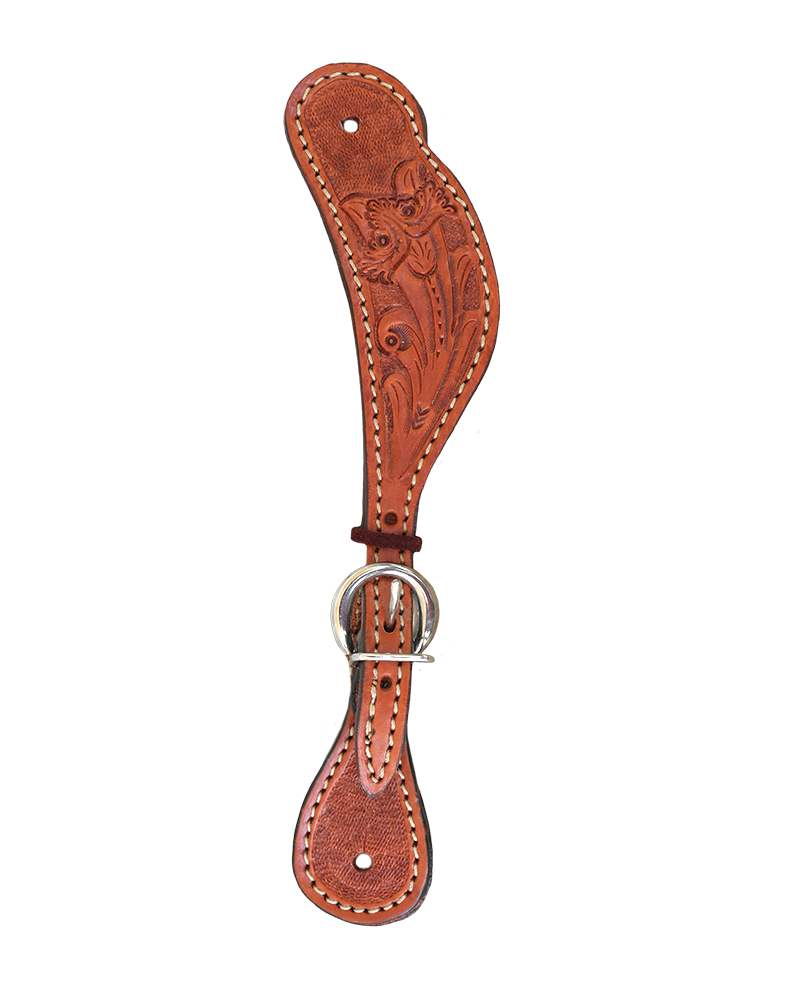 382-COL Ladies spur strap golden leather colonial tooling