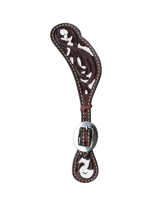 382-CW Spur Strap in chocolate leather with white painted background