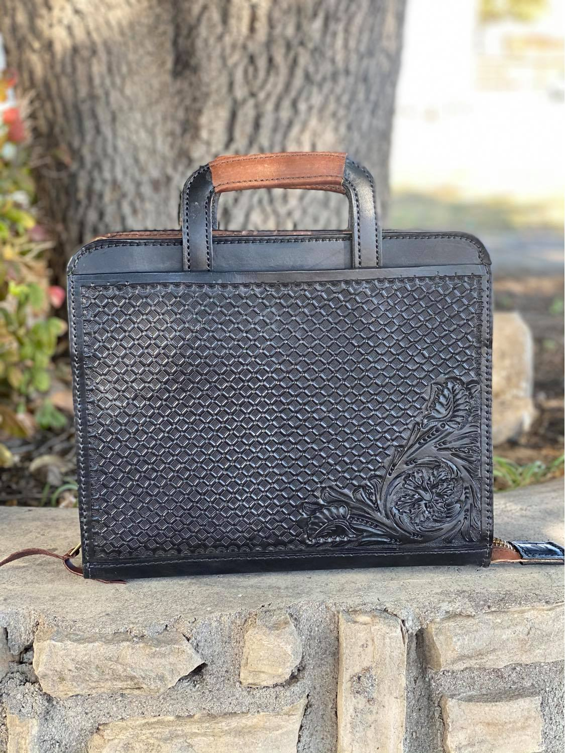 Cowboy Briefcase Black Combo Tooled <P><B> LAST ONE!</B>