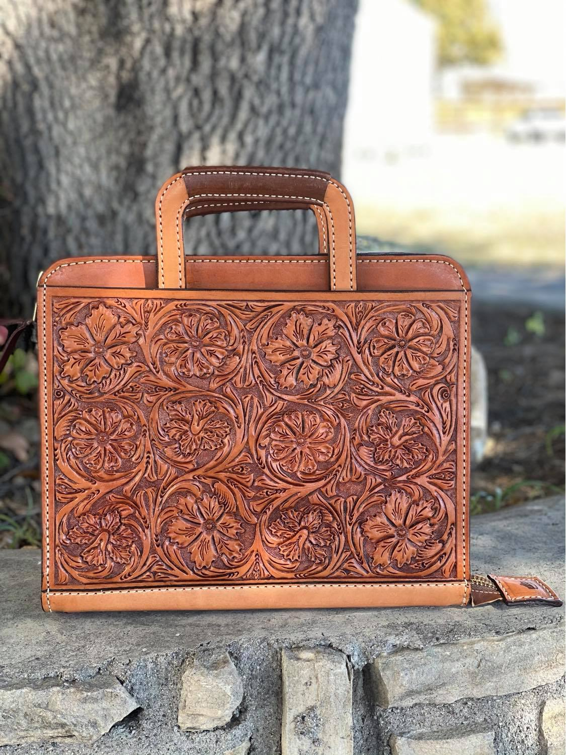 Cowboy Briefcase floral Tooled in golden leather