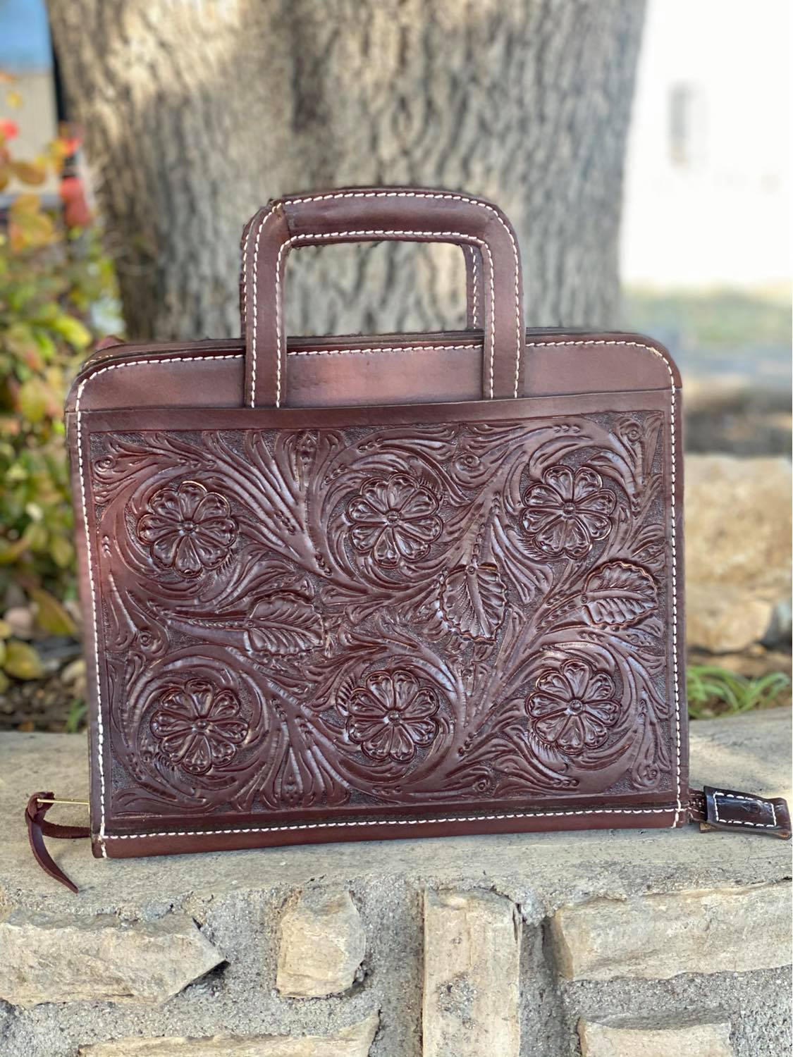 Cowboy Briefcase floral Tooled in chocolate leather <P><B> LAST ONE!</B>