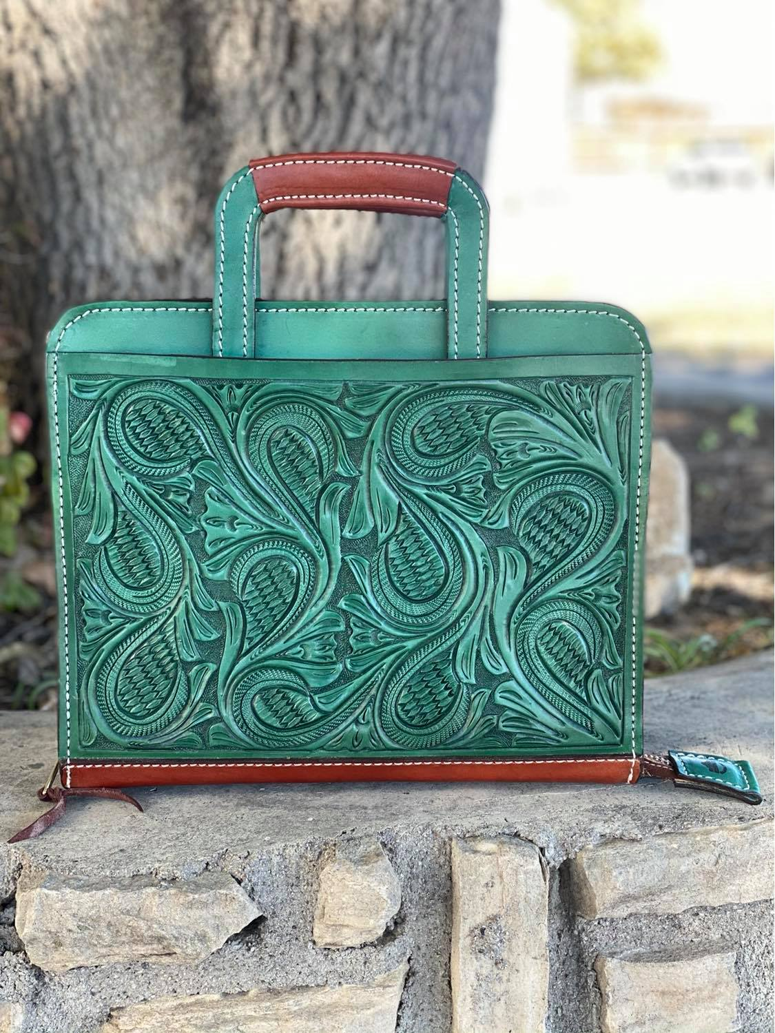 Cowboy Briefcase turquoise floral Tooled