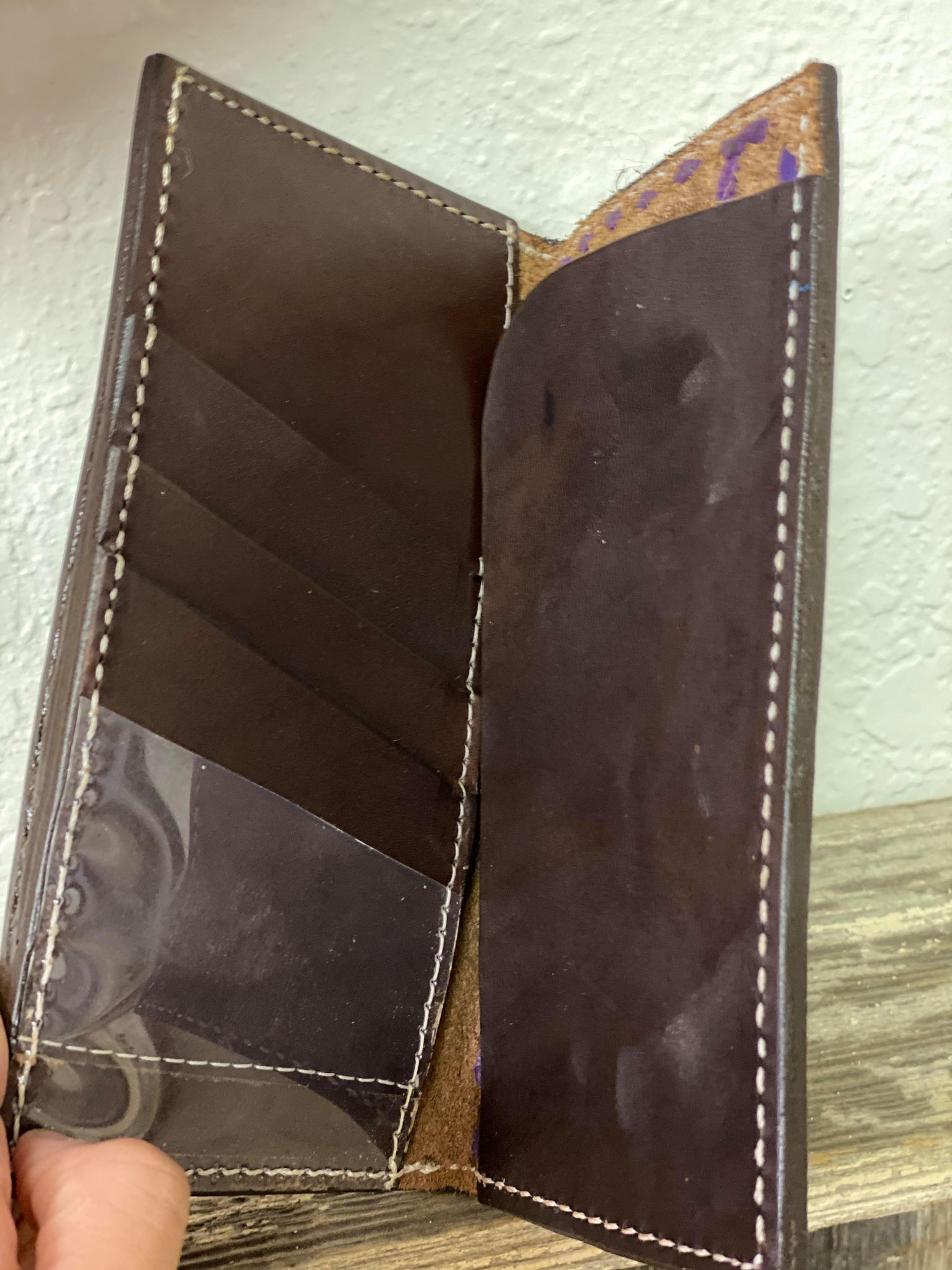 Bi-Fold feather tooled wallet