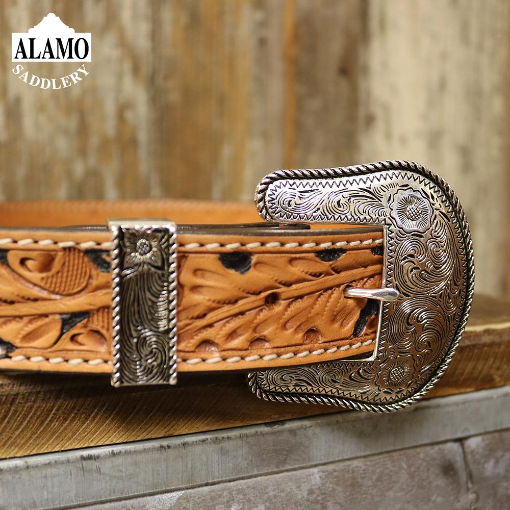 Belt golden leather floral tooled 1 1/2\