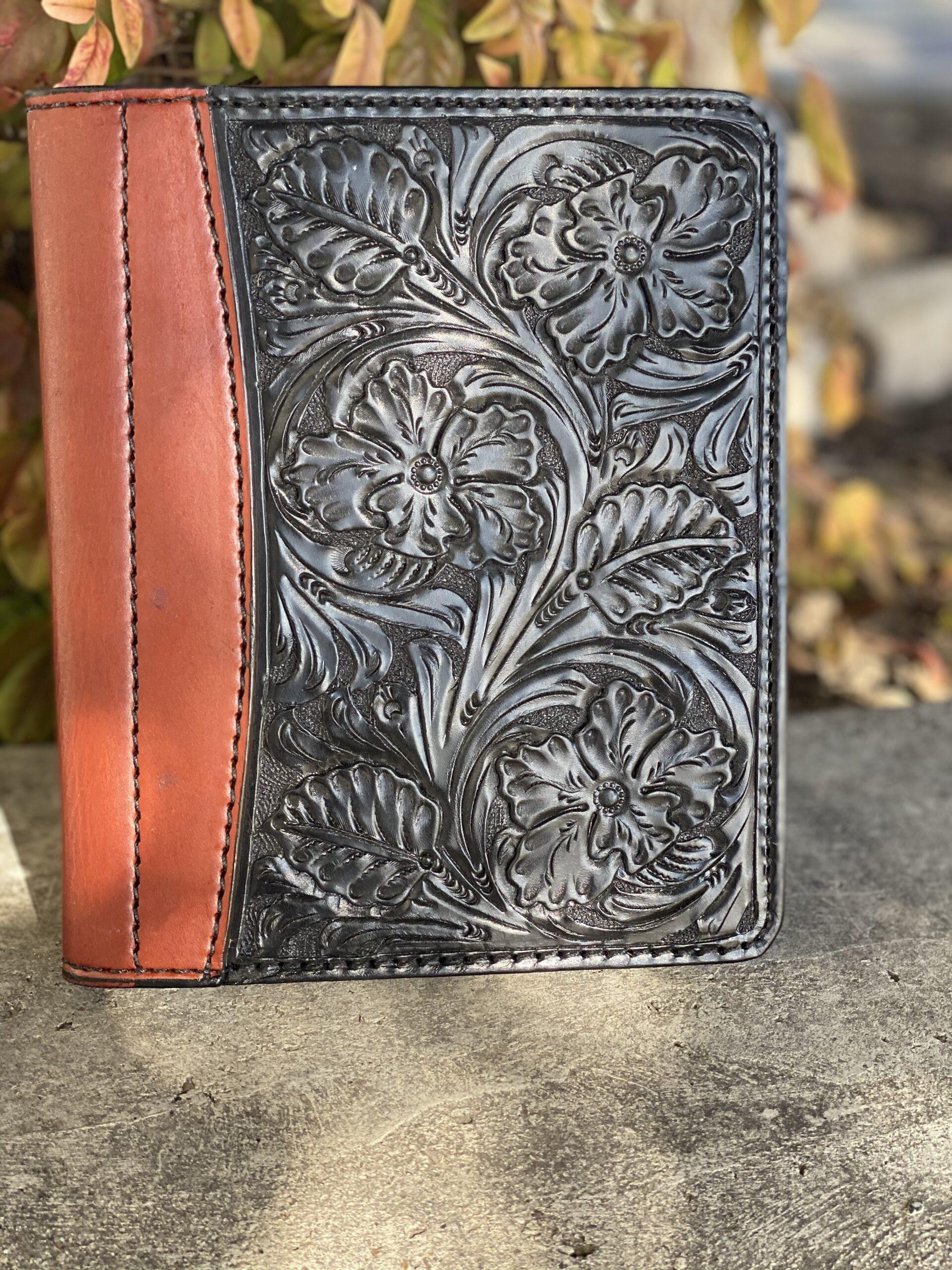 black floral tooled Tooled Mini Portfolio/Planner