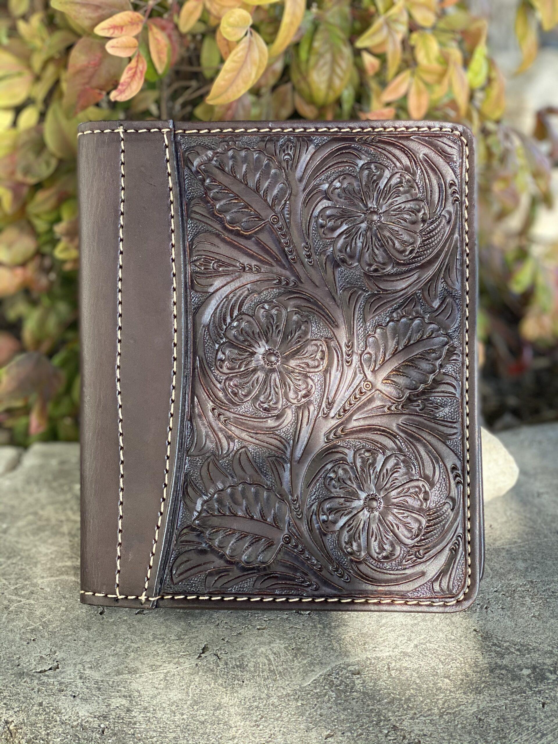 Chocolate floral Tooled Mini Portfolio/Planner