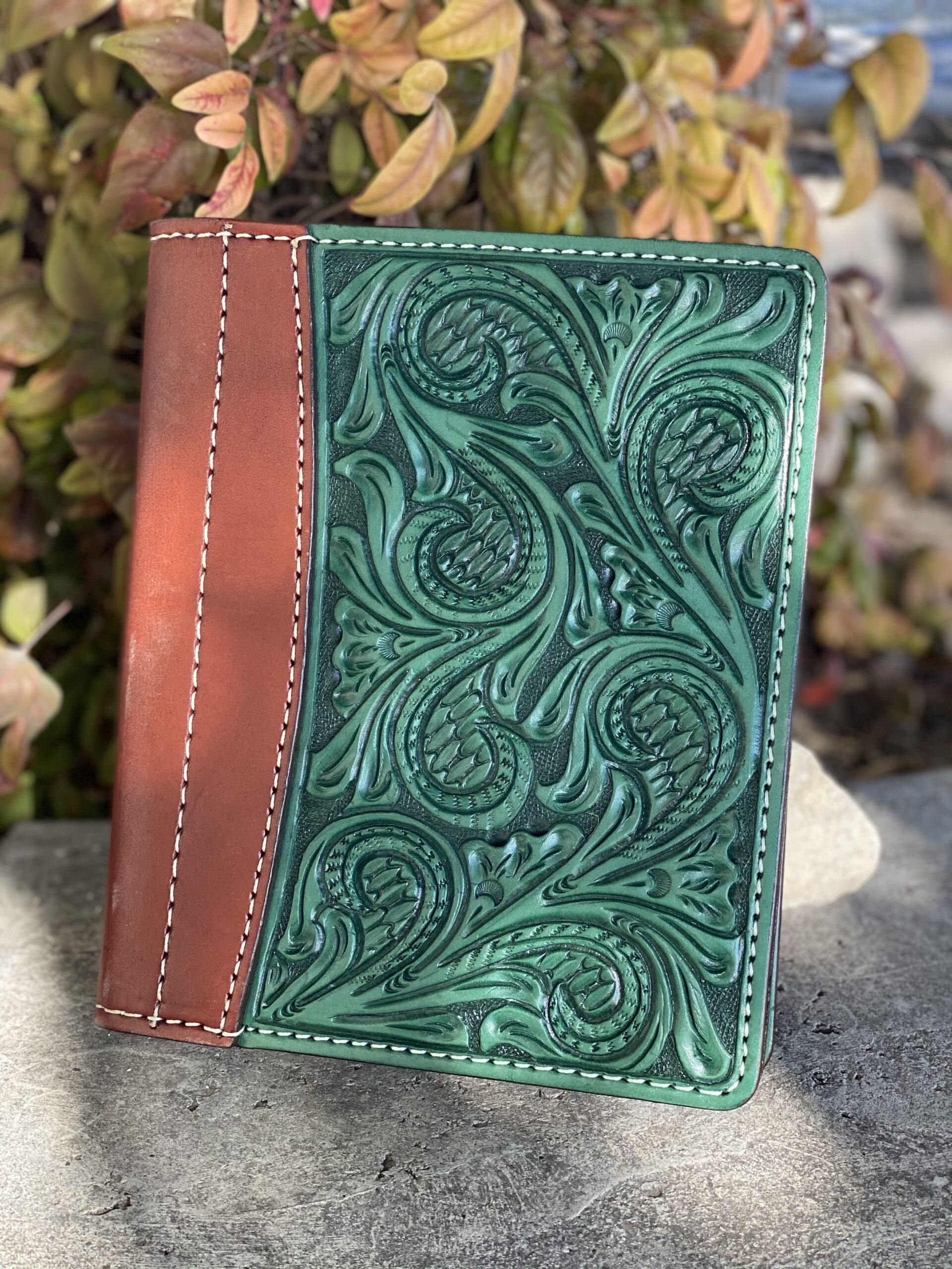 Turquoise floral Tooled Mini Portfolio/Planner