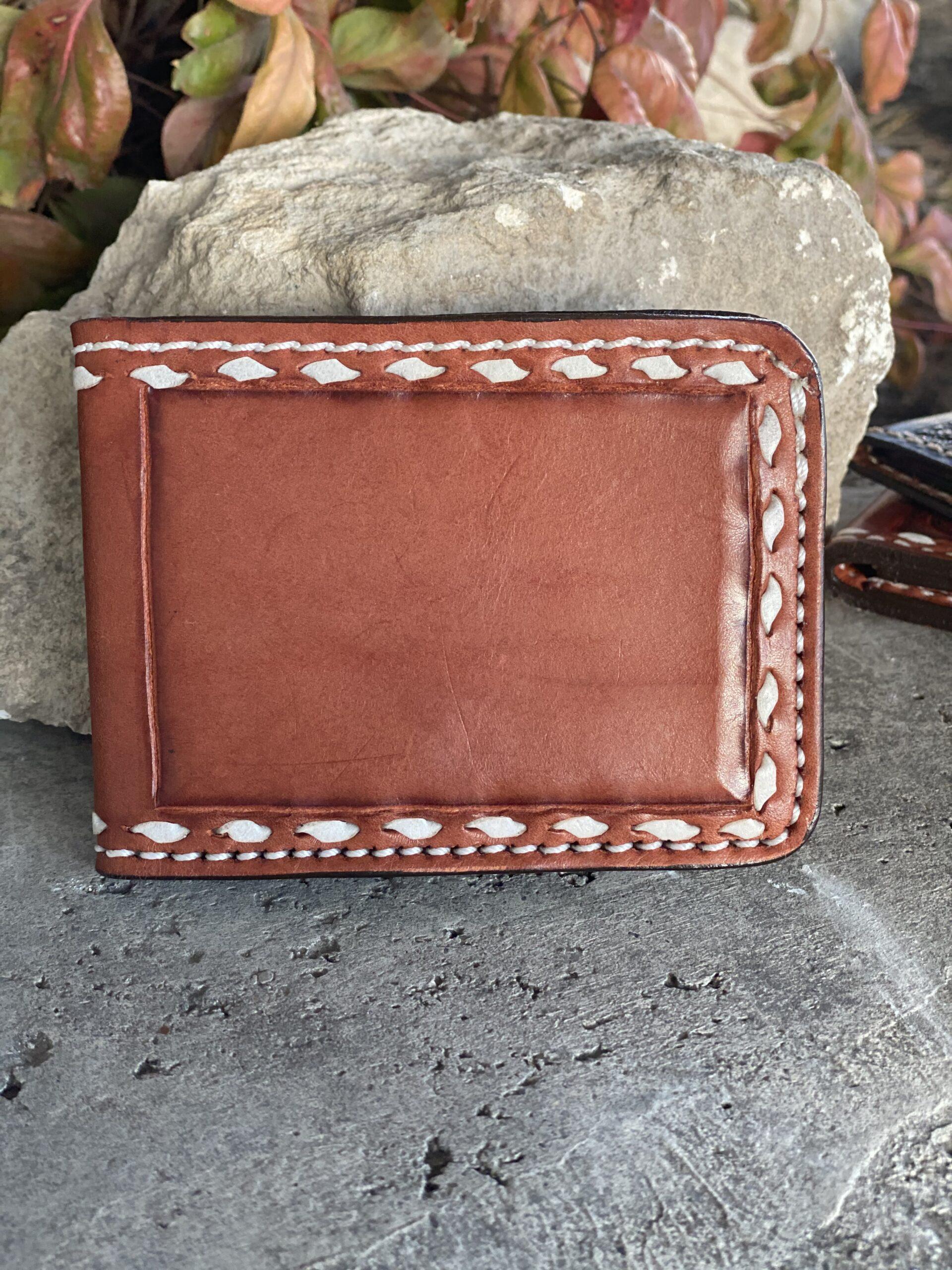 White buckstitch wallet
