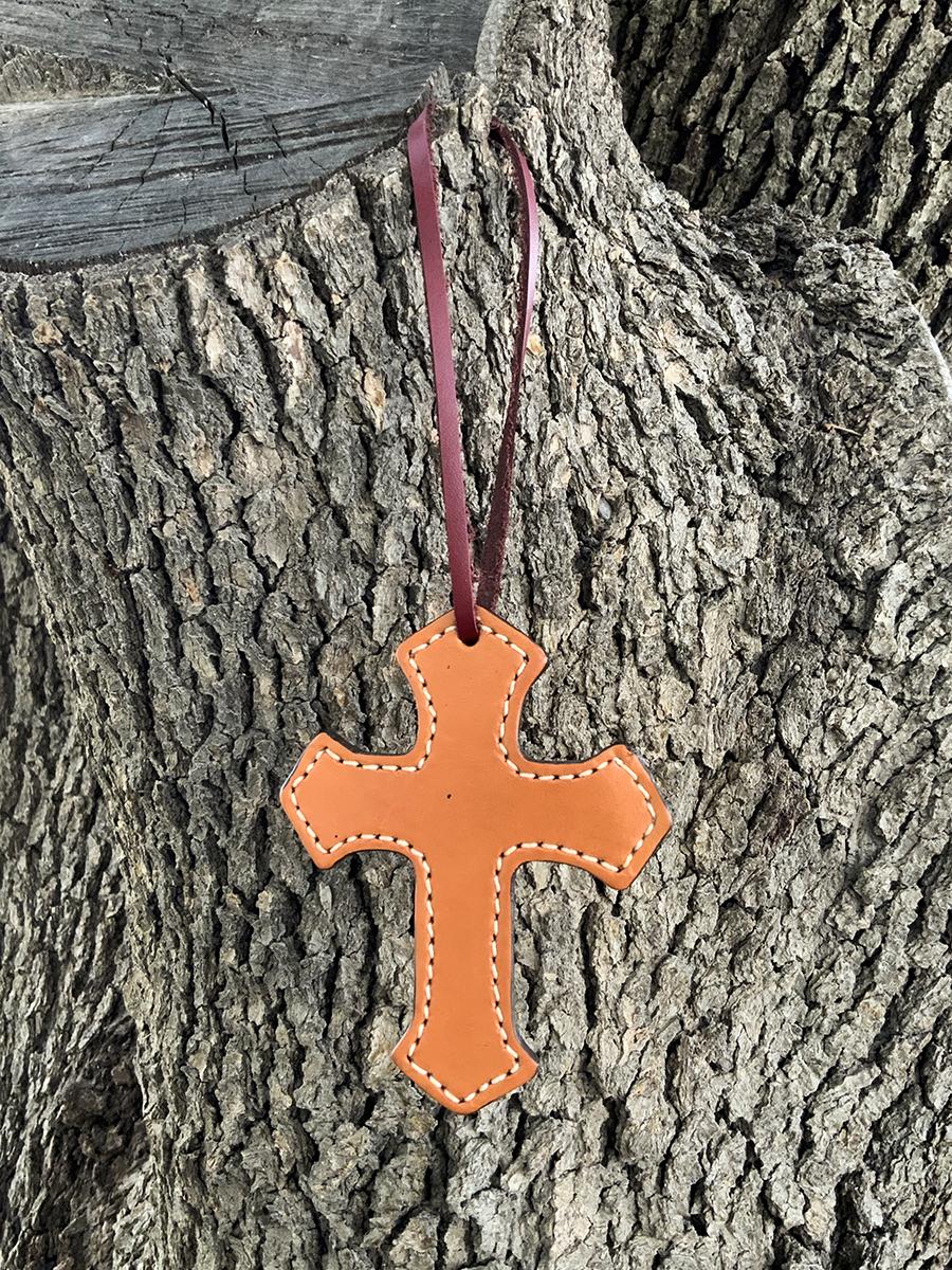 108 Cross golden leather