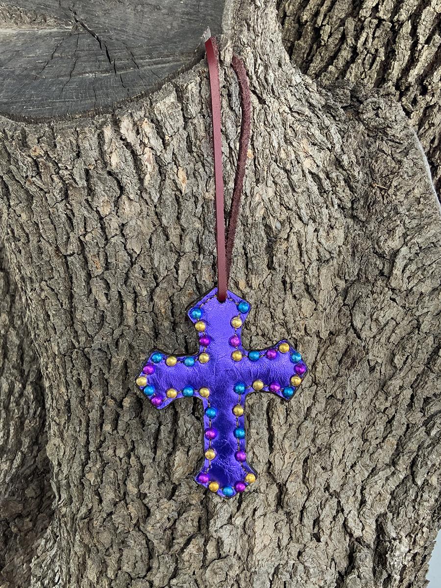 108-JPM Cross purple metallic overlay w/ spots