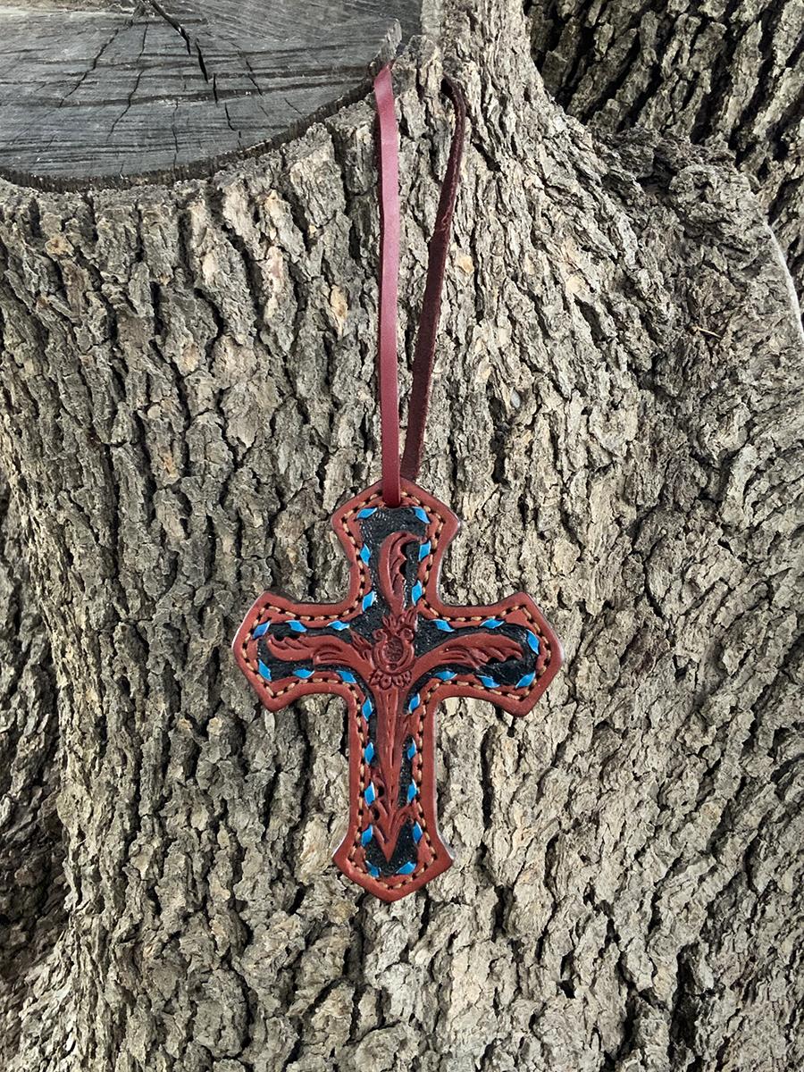 108-TTBS Cross toast leather w/ AA tooling turquoise buckstitch & black background paint