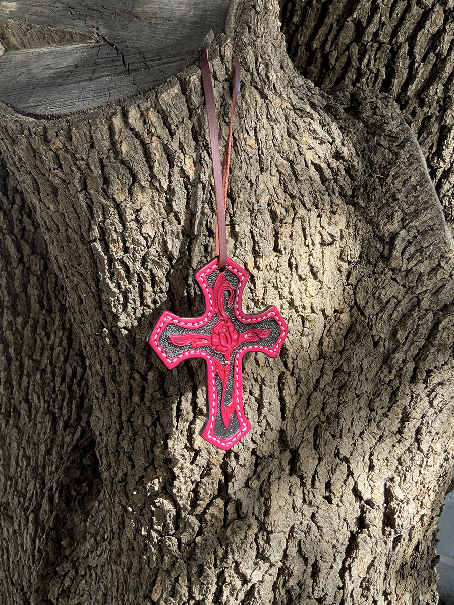 108-RP Cross dirty pink leather rose tooling