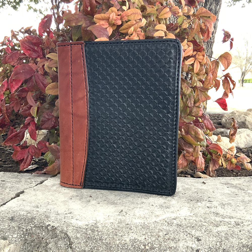 Black leather geo tooled mini portfolio/planner
