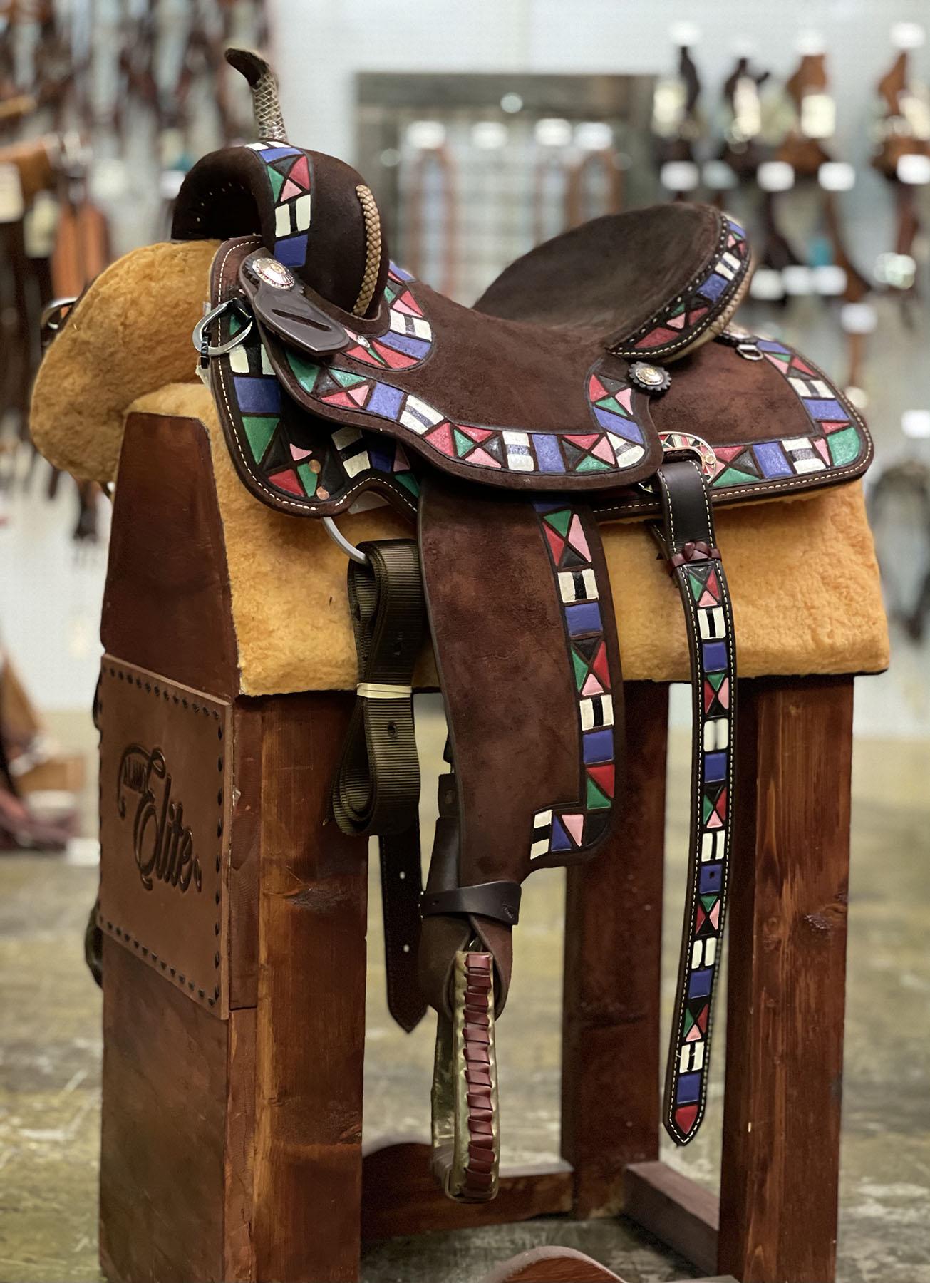 <B>14.5in</B><P>Aztec barrel saddle</P>
