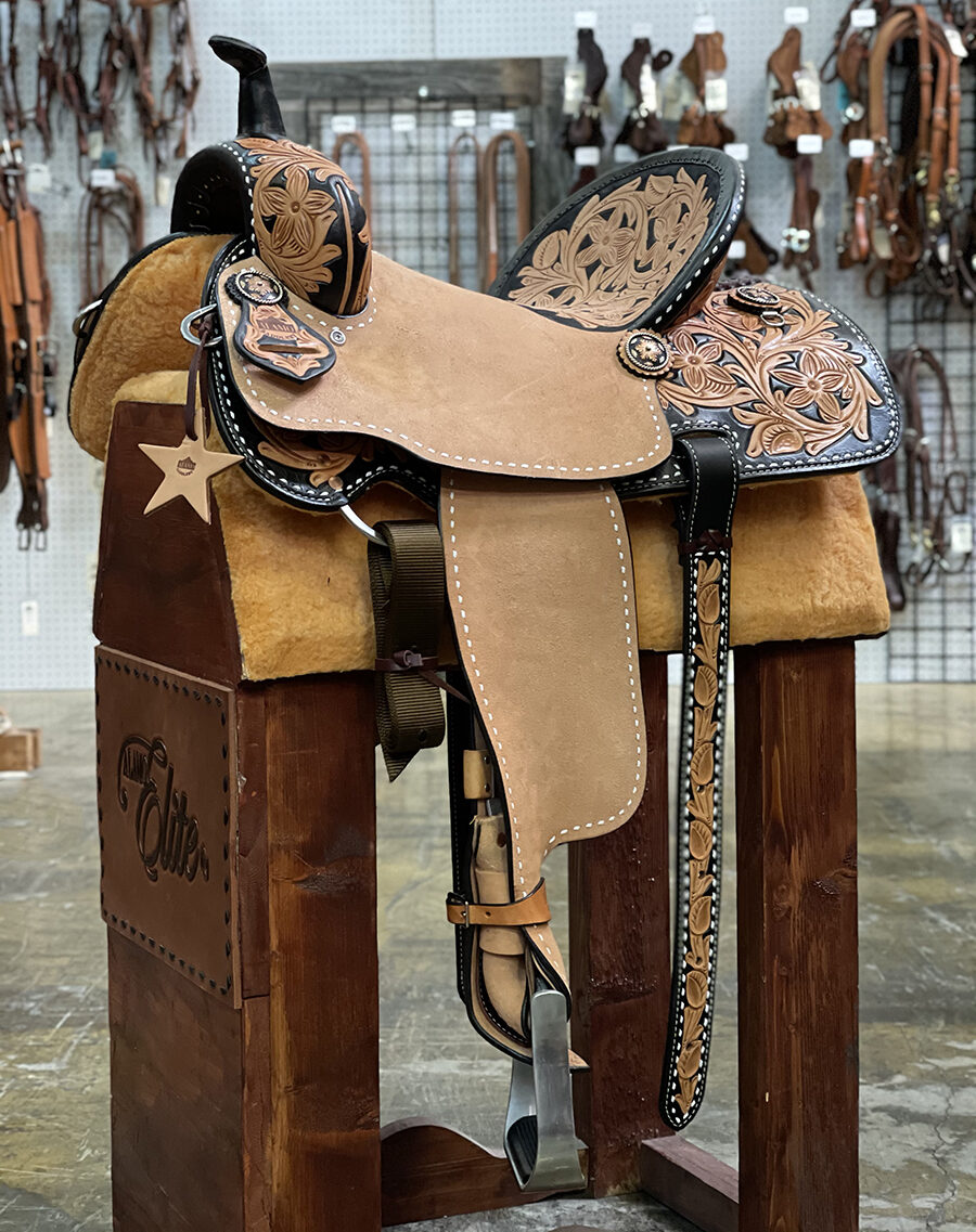 <b>15.5in</b> <p>Sunrise barrel saddle</p>
