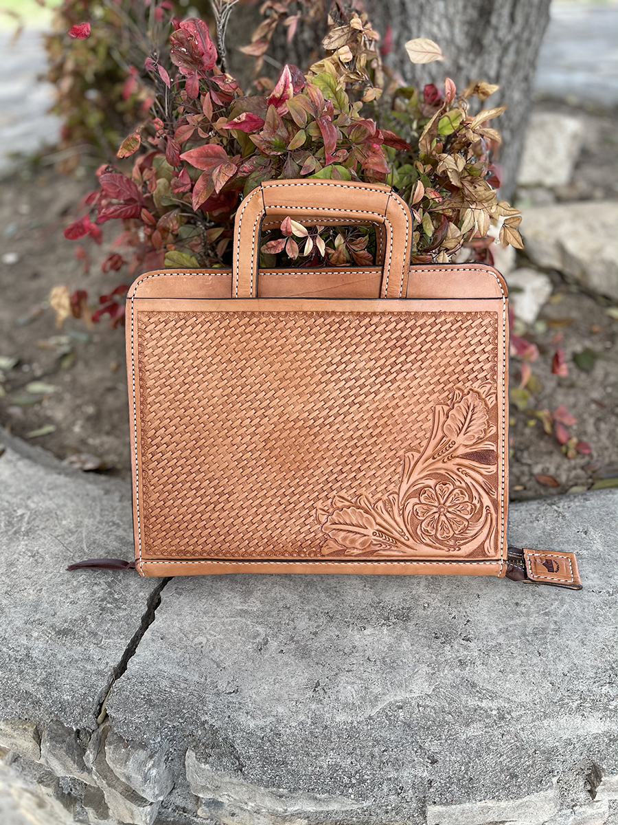 Cowboy briefcase golden combo tooled