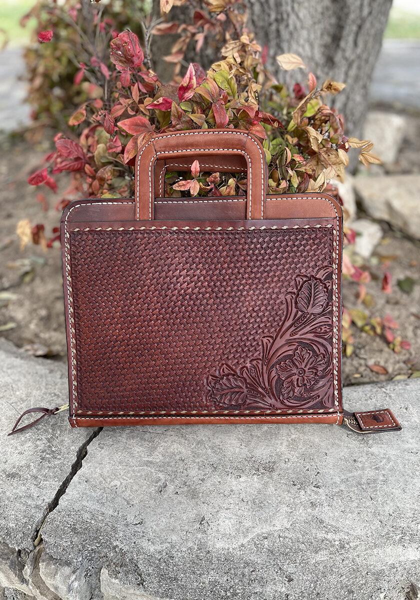 Cowboy briefcase toast buckstitch combo tooled