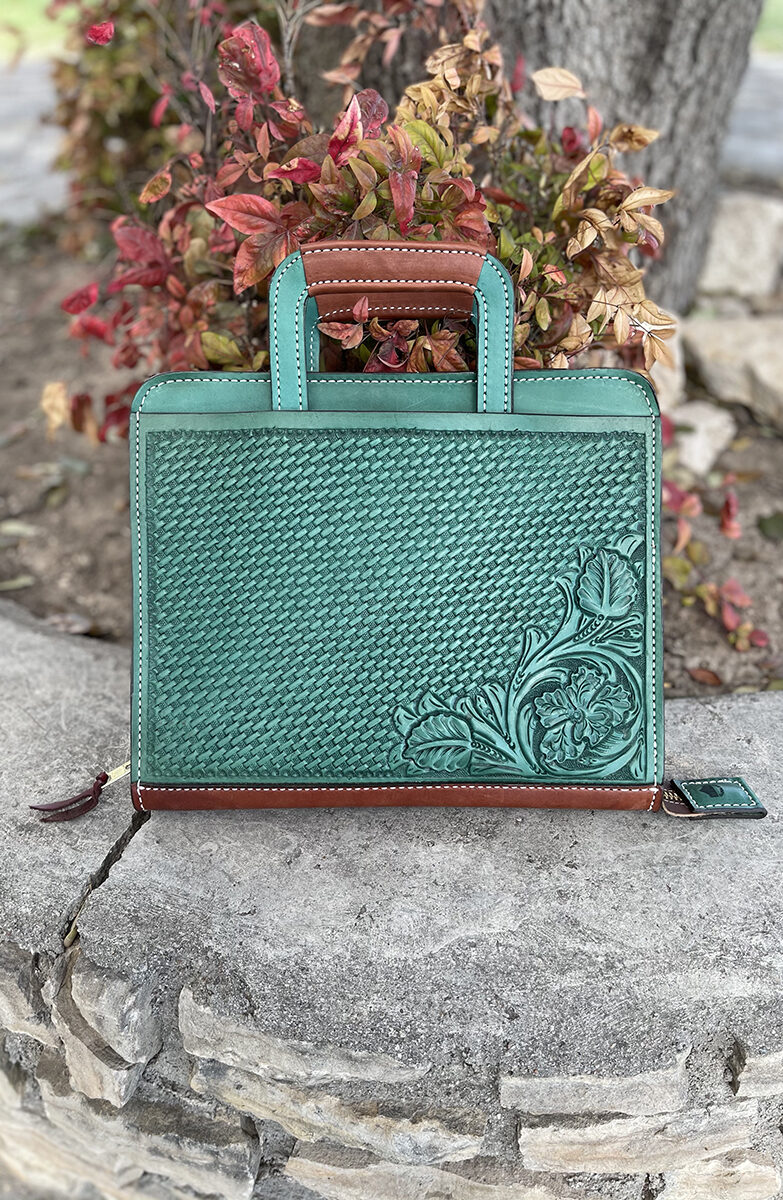 Cowboy briefcase turquoise combo tooled