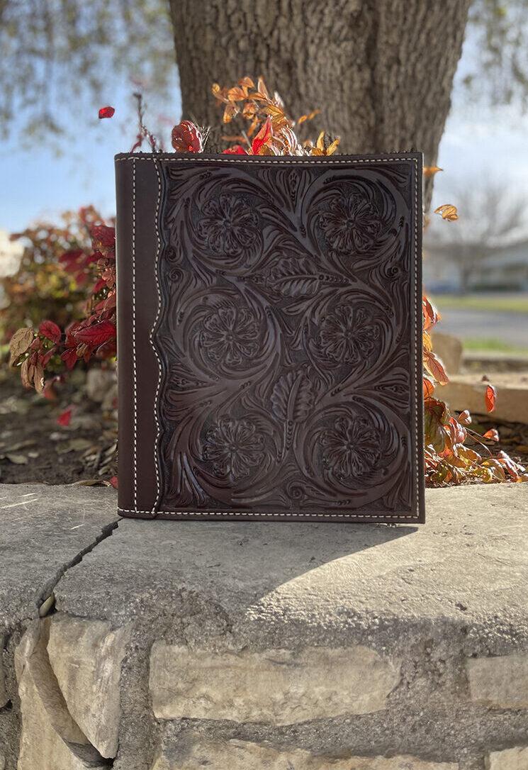 Portfolio chocolate floral tooled