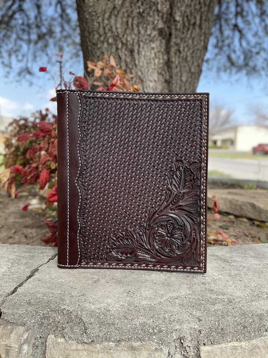 Portfolio chocolate leather combo tooled