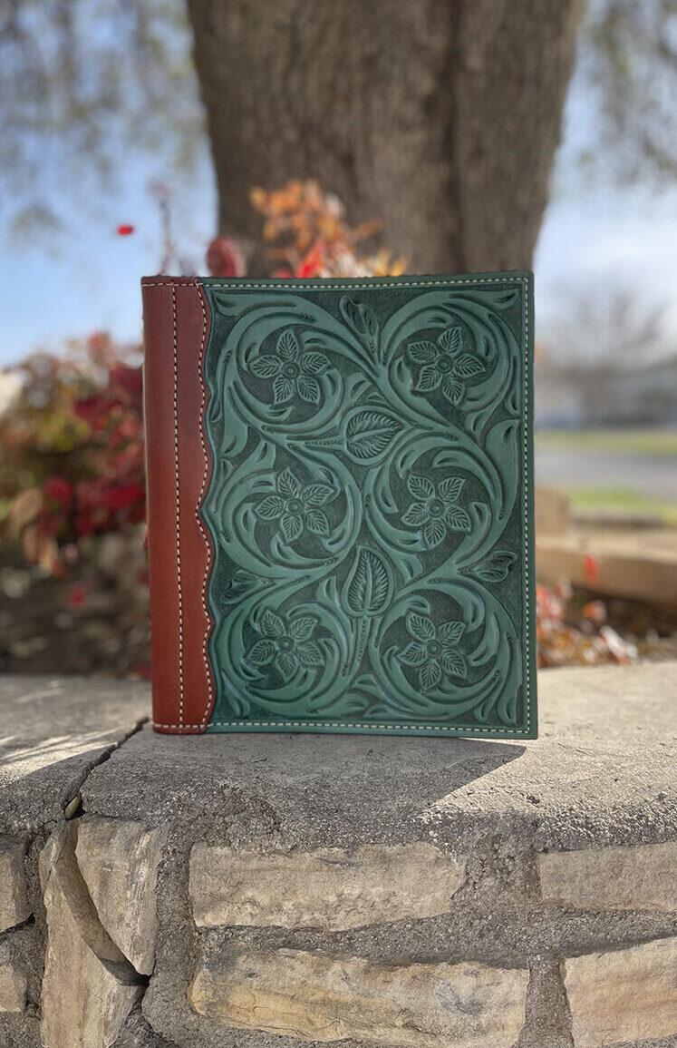 Portfolio turquoise floral tooled