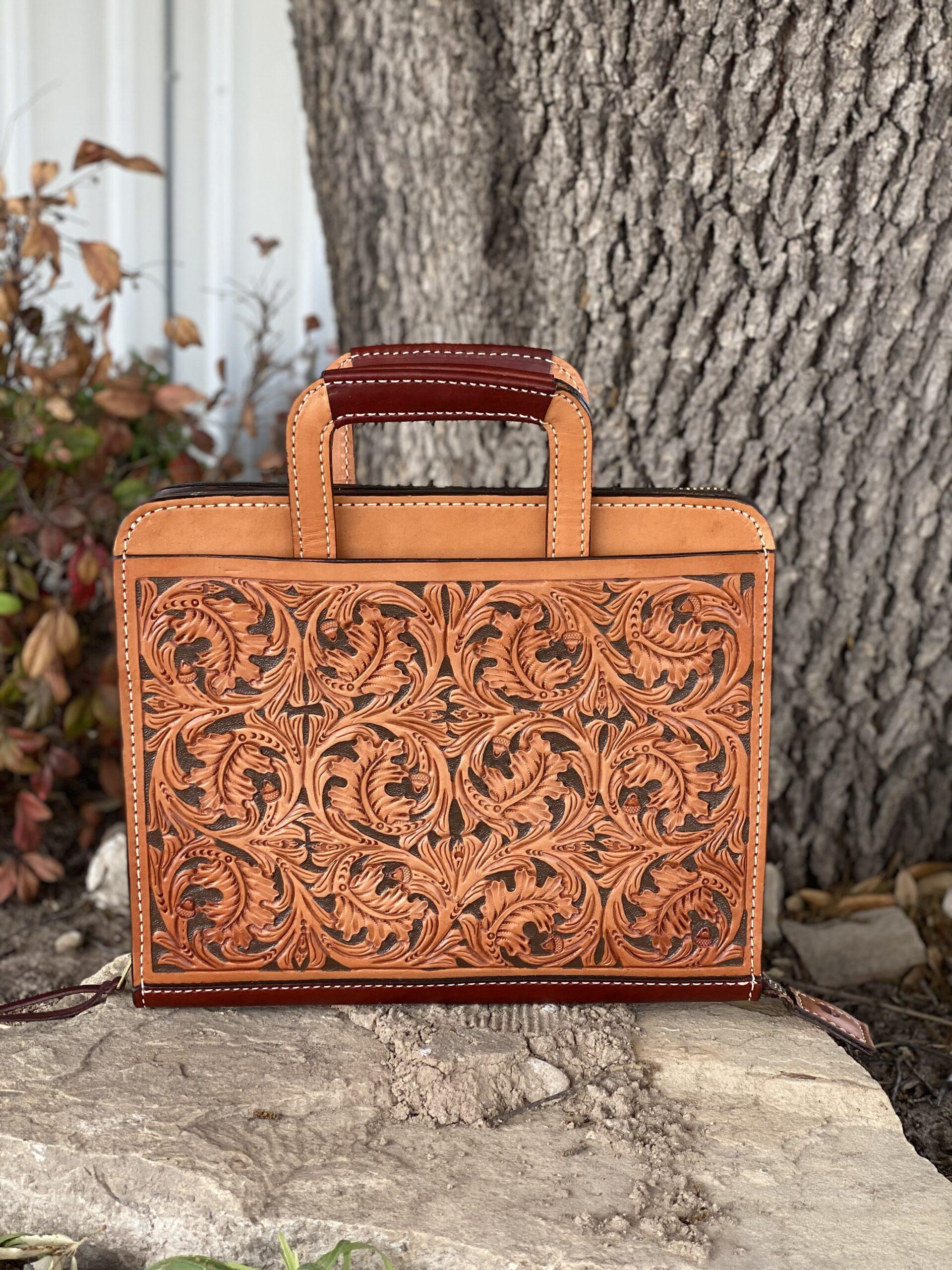 Golden oakleaf w/ chocolate paint Cowboy briefcase