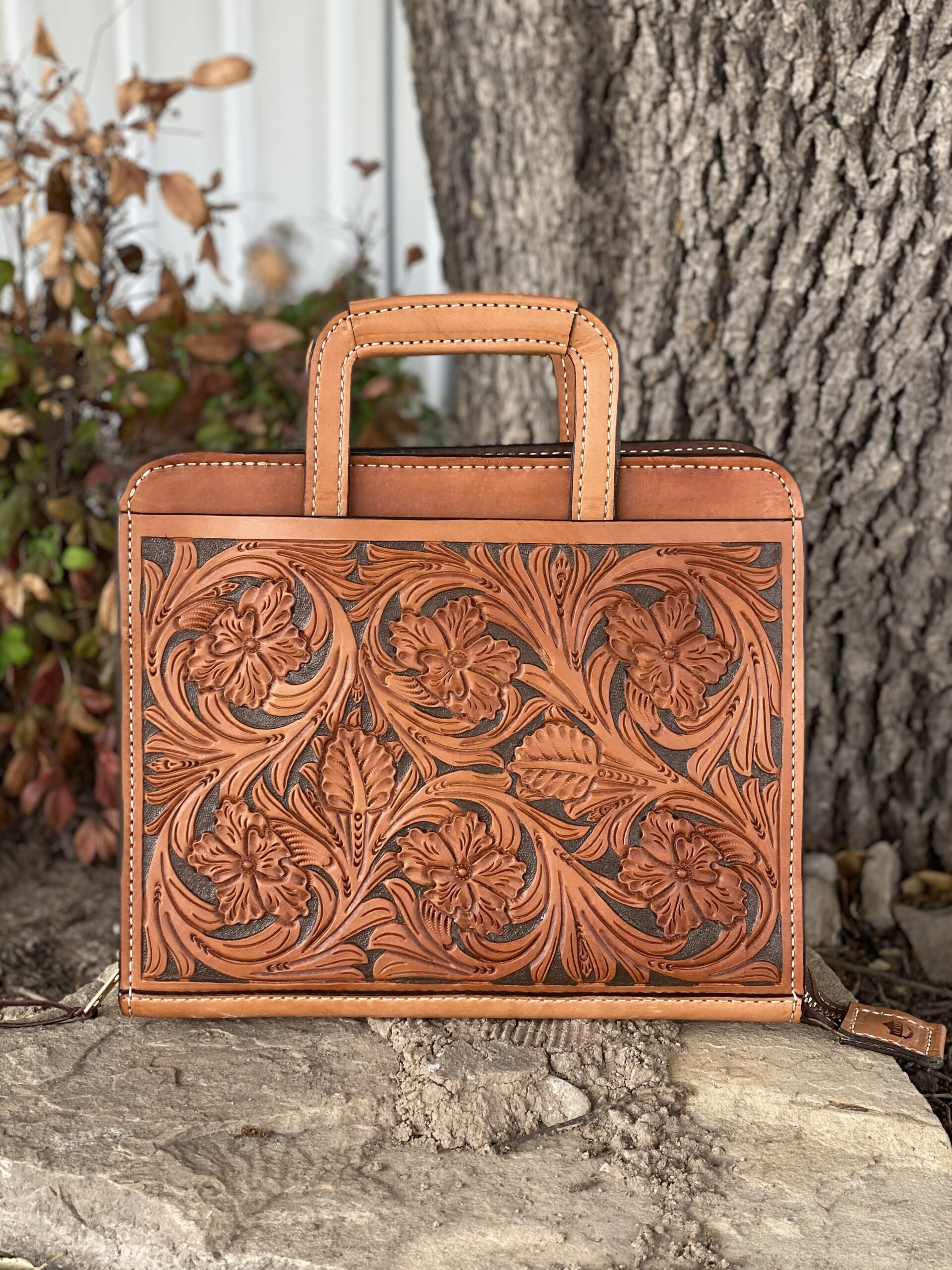 Golden Wild desert oak leaf w/ Paint Cowboy Briefcases