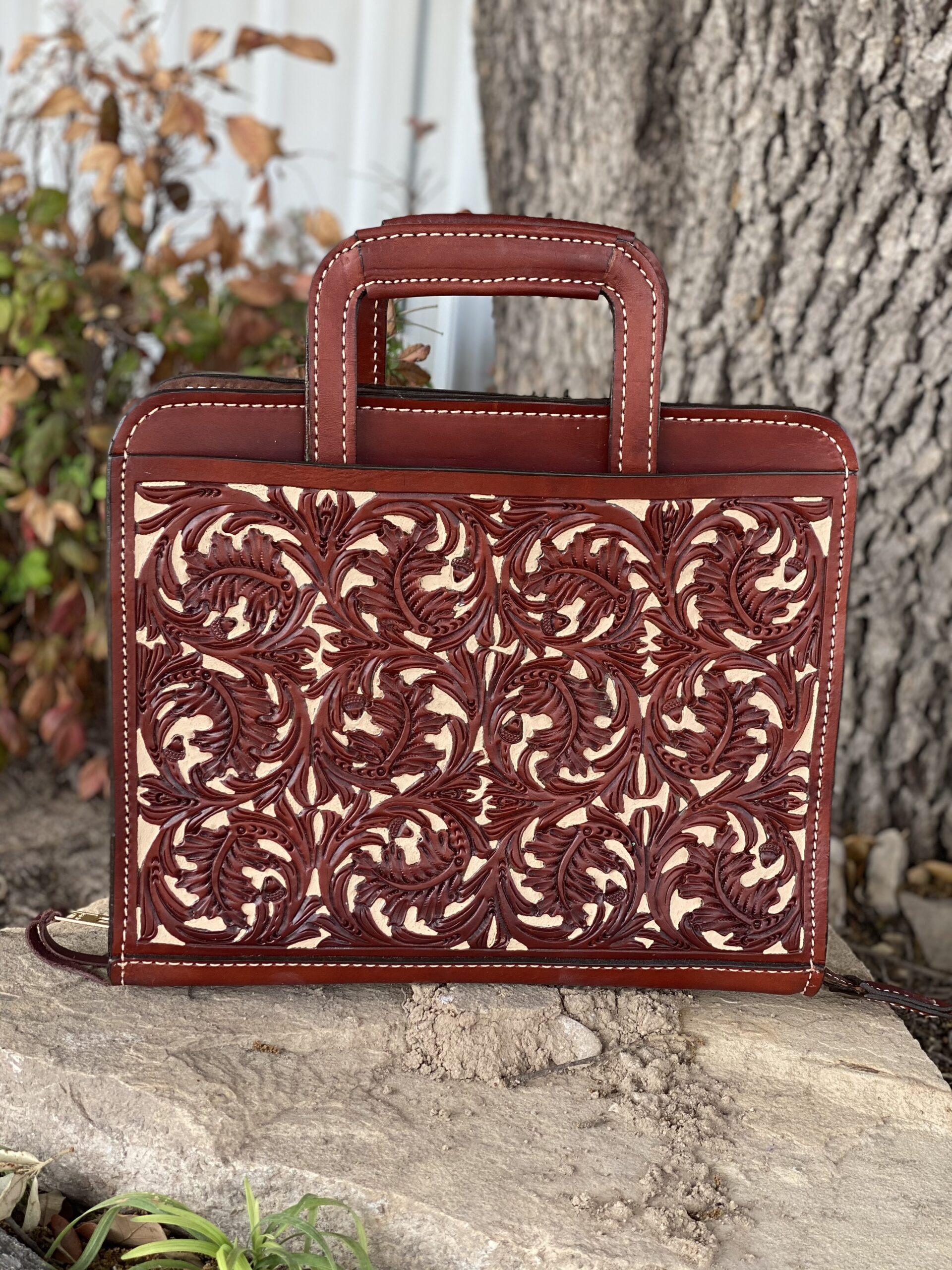 Toast oakleaf w/ tan background cowboy briefcase