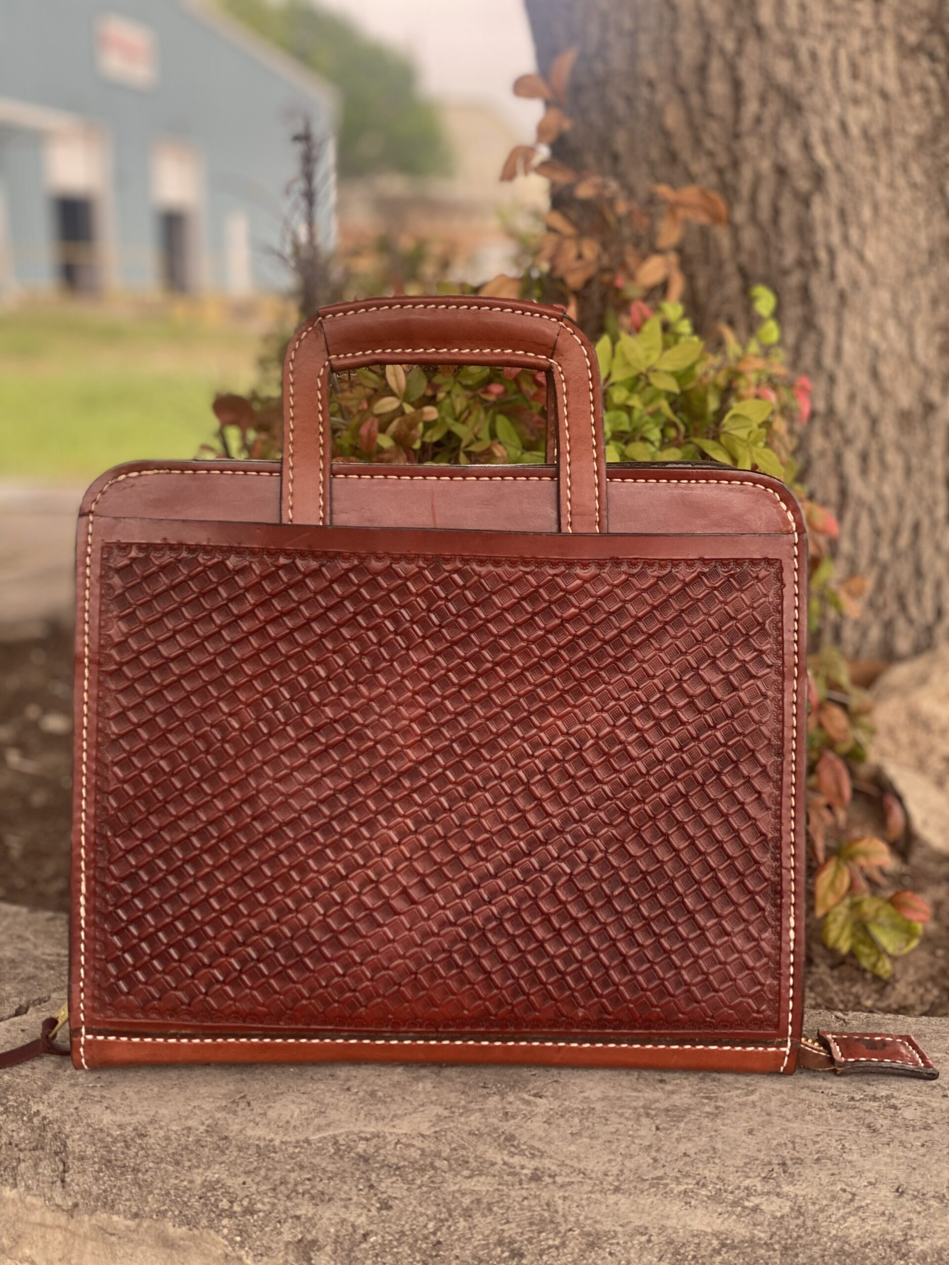 Cowboy Briefcase geo Tooled in toast leather <P><B> LAST ONE!</B>