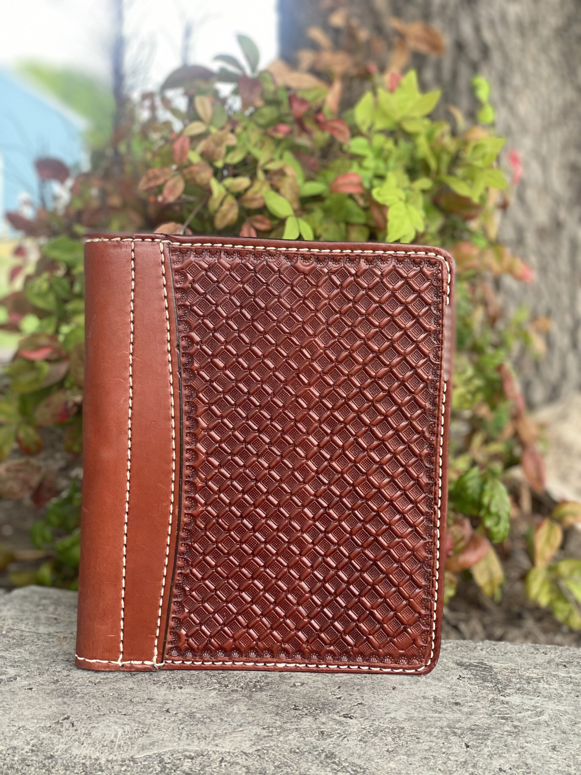 Toast Leather mini portfolio/planner w/ Geo Tooling