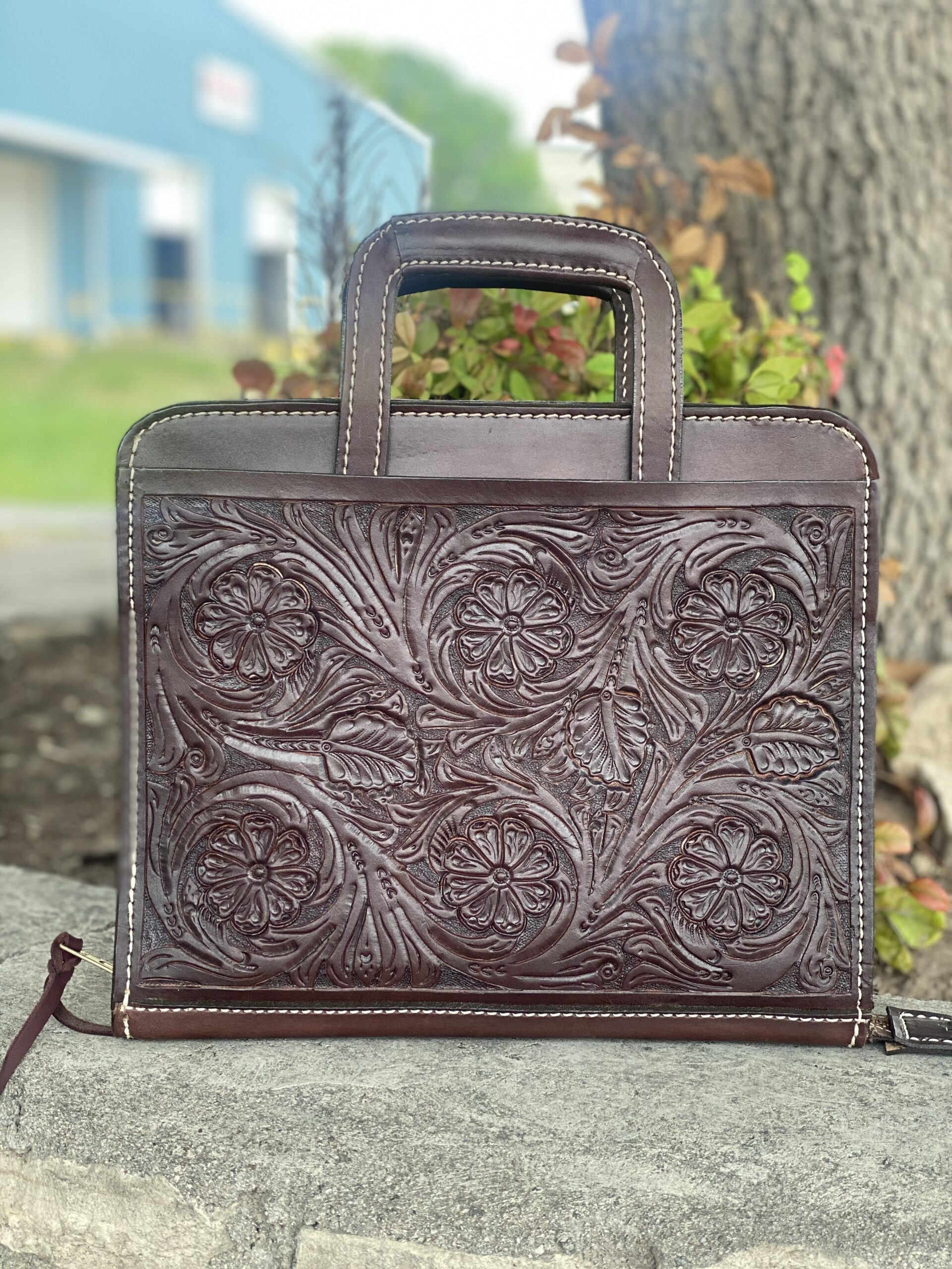 Chocolate full floral Cowboy Briefcase