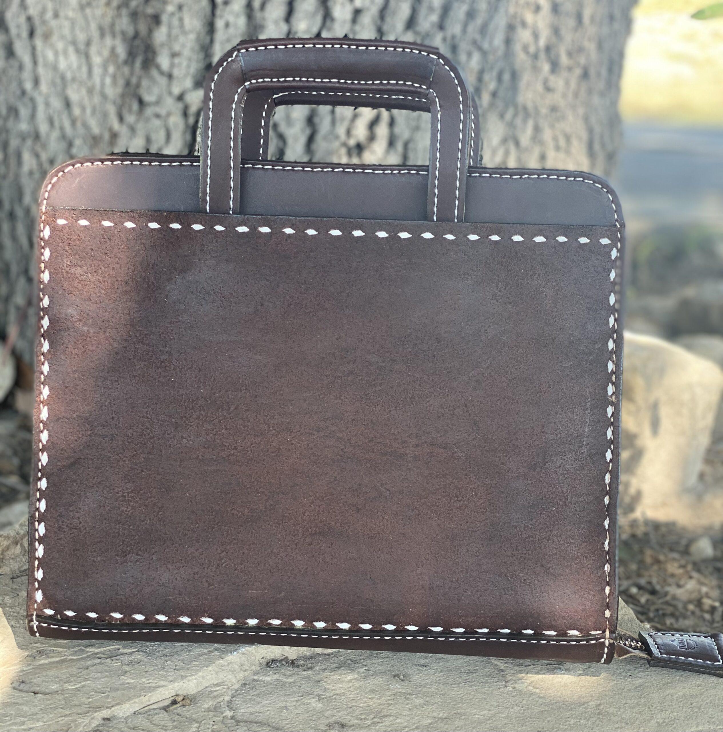 Cowboy Briefcase Chocolate Roughout w/ Buckstitch
